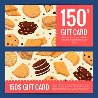 Cupón de descuento en tarjetas de regalo de plantillas con galletas de dibujos animados