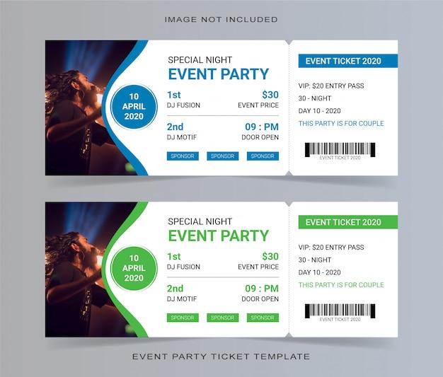 Cupón de invitación de plantilla de boleto de fiesta de evento vacío