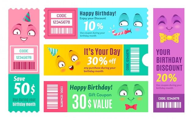 Cupón promocional de feliz cumpleaños. cupón de aniversario, vales de regalo feliz y conjunto de plantillas de cupones de códigos promocionales sonrientes