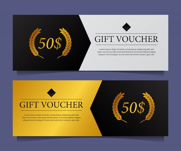 Cupón de regalo con cupón de tarjeta elegante moderno con acento dorado.