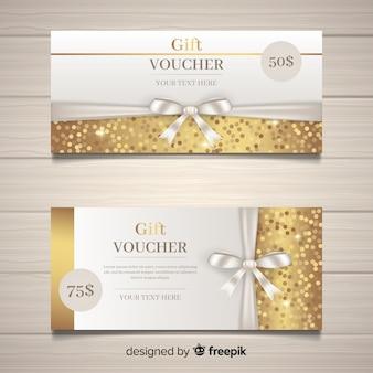 Cupón de regalo elegante con estilo dorado