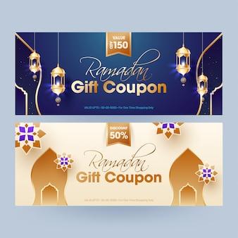 Cupón de regalo de ramadán con diferentes descuentos en dos colores.