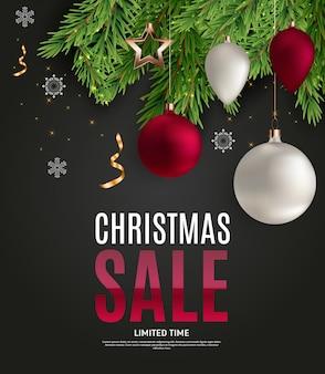 Cupón de regalo de venta de navidad y año nuevo, ilustración de vector de plantilla de cupón de descuento