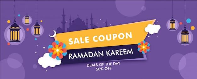 Cupón de venta o diseño de cabecera con silueta de mezquita y 50% de disco.
