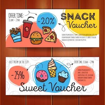 Cupones de descuento para comida rápida y postres.