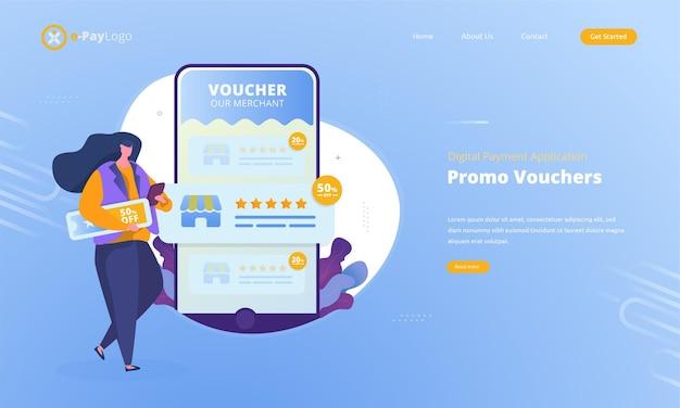 Cupones promocionales para comerciantes para conceptos de aplicaciones de pago digital