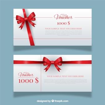 Cupones de regalo con lazo rojo