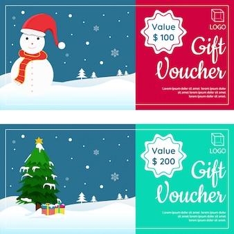 Cupones de regalo de navidad con happy snowman, xmas tree y gift boxes.