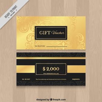 Cupones de regalo ornamentales de oro
