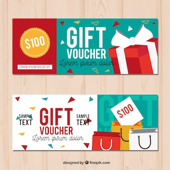 Cupones de regalos en diseño plano