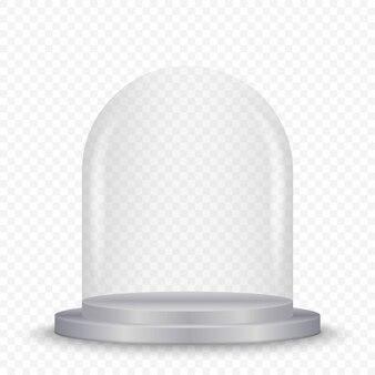 Cúpula de cristal transparente en el podio.