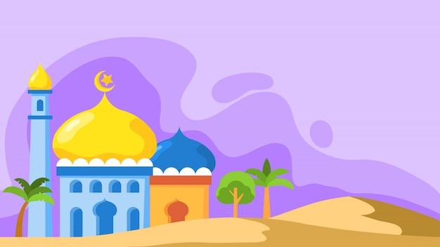 Cúpula de la mezquita en estilo plano. conveniente para el fondo del tema islámico.