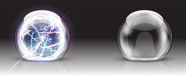 Cúpula de vidrio, bola eléctrica o esfera realista.