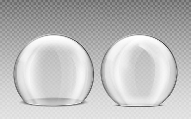 Cúpula de vidrio, esfera de plástico transparente.