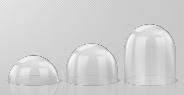 Cúpulas de cristal realistas, recuerdos de globo de nieve de navidad aislados