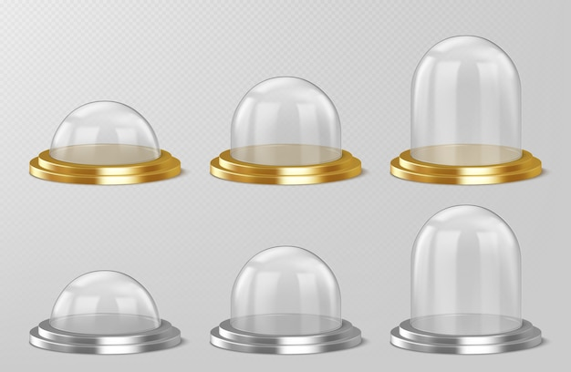 Cúpulas de vidrio realistas, recuerdos de bolas de nieve navideñas, contenedores de semiesfera de cristal aislados en plata