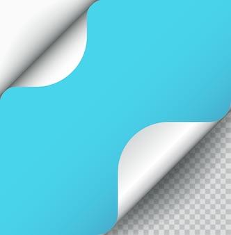 Curl de página de papel de color azul con sombra aislada.