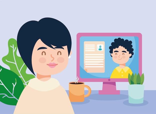 Currículum de cv de mujer y hombre en computadora de trabajo virtual