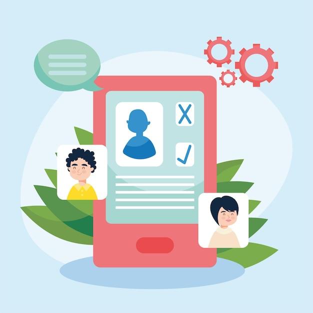Currículum cv en smartphone con perfiles de personas