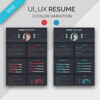 Currículum de diseñador de ui / ux