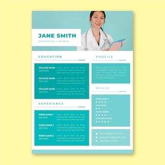 Currículum médico de enfermera de cuadrícula minimalista