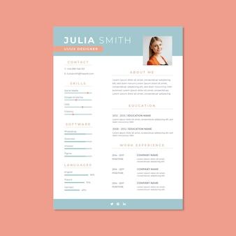 Currículum minimalista de julia azul duotono