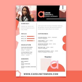 Currículum de moda monocolor geométrico