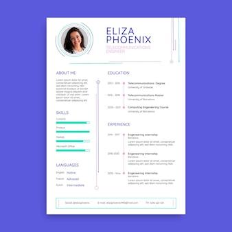 Currículum profesional de tecnología simple