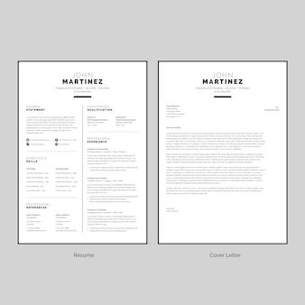 Curriculum vitae en blanco y negro con plantilla de carta de presentación