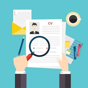 Currículum vitae. concepto de entrevista de trabajo.