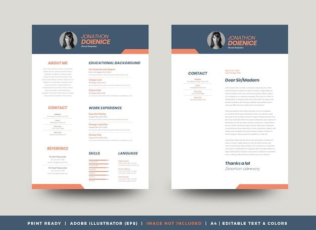 Curriculum vitae cv diseño de plantilla de currículum vítae o detalles personales para la solicitud de empleo