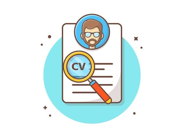Curriculum vitae con la ilustración de vector de caracteres