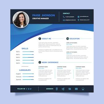 Currículum vitae en línea azul