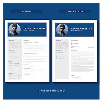 Curriculum vitae plantilla con carta de presentación