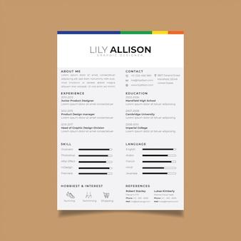 Currículum vitae plantilla de diseño cv minimalista