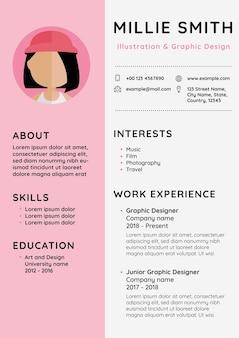 Currículum vitae de plantilla editable de cv femenino para principiantes y profesionales