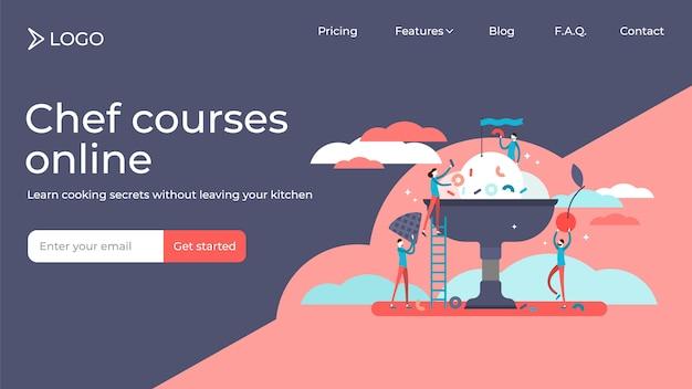 Curso de cocina plana personas pequeñas ilustración vectorial diseño de plantilla de página de destino