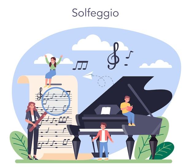 Curso de educación musical. joven intérprete tocando música con equipo profesional. clase de solfeo. ilustración vectorial