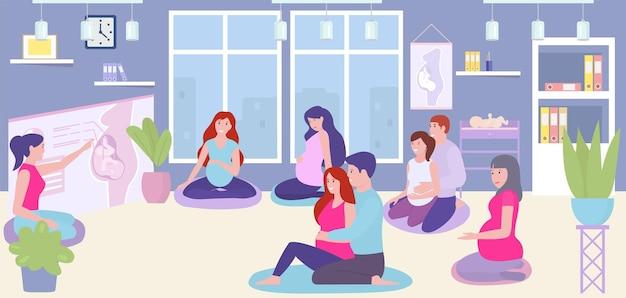 Curso de embarazo, ilustración vectorial, personaje de mujer embarazada entrenando juntos en la habitación, lección de compañerismo sobre bebé embrion plano.