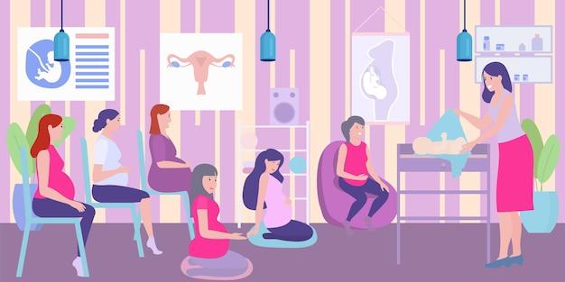 Curso de embarazo sobre compañerismo, concepto de maternidad, ilustración vectorial, entrenamiento de carácter de personas de mujer plana embarazada en clase.