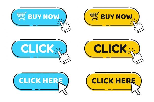 Cursor de mano y flecha apuntando al botón de clic haga clic aquí para obtener un enlace