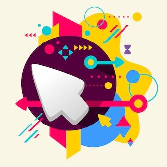Cursor sobre fondo manchado colorido abstracto con diferentes elementos