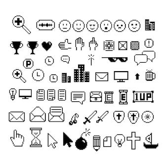 Cursores de píxeles, reloj de arena, carta, apoyos, sonrisa, corazón, clase.blanco y negro.fondo aislado del vector