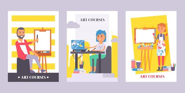 Cursos de arte conjunto de carteles. hombre pintando sobre lienzo. niña sentada frente a la computadora portátil escuchando auriculares en línea