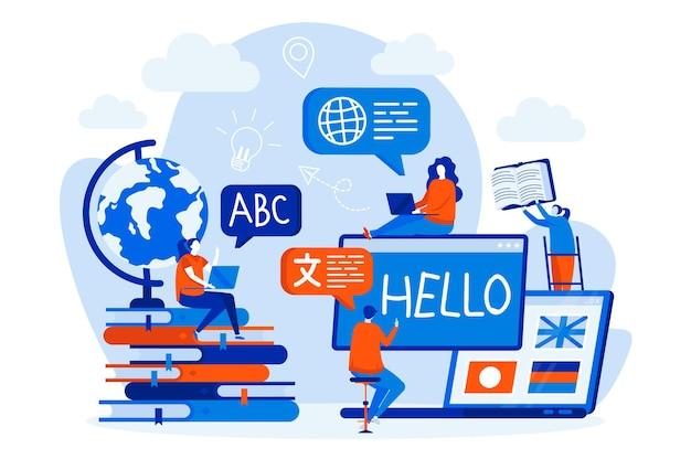 Cursos de idiomas diseño web con personajes de personas.
