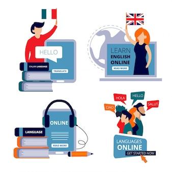 Cursos de idiomas. estudie inglés aprendiendo chino uso italiano diccionario para aprender imágenes de concepto de centro de formación