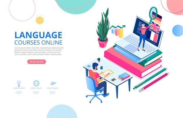 Cursos de idiomas en línea plantilla de fondo o página de inicio con libros portátiles personas que estudian de forma remota y espacio para texto distancia y elearning estilo plano de ilustración vectorial