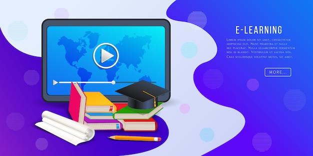 Cursos en línea, banner de plataforma de e-learning con tablet pc, reproductor de video, libros, lápiz y gorro de graduación.
