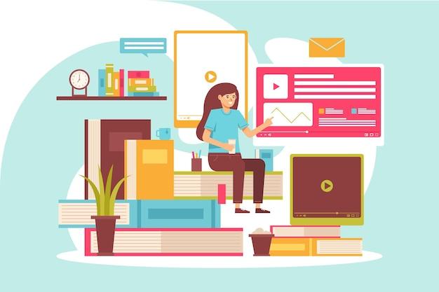 Cursos en línea para estudiantes en cuarentena ilustrados