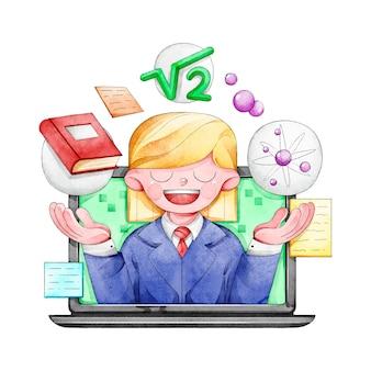 Cursos en línea con ilustración del profesor